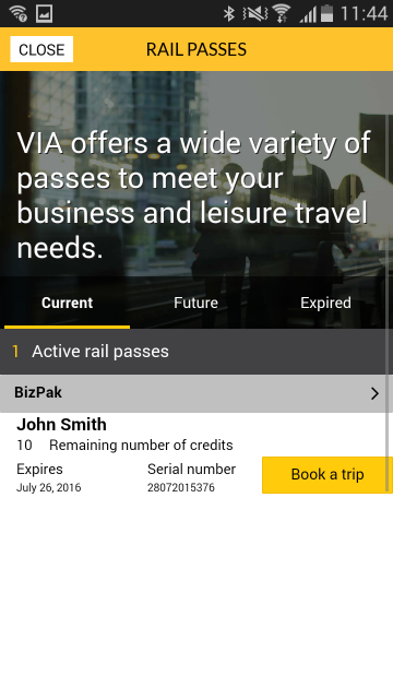 VIA Rail- screenshot
