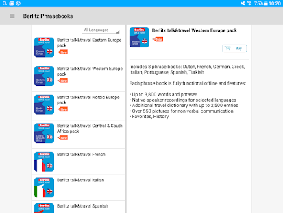 Berlitz talk&travel Phrasebooks Screenshot