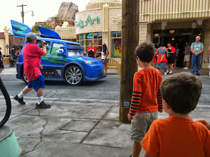 Photo: Clark, Finn, and DJ at Cars Land