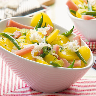 Kartoffel-Fisolen-Salat mit frischem Kren