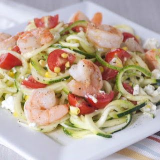 Shrimp and Zucchini Noodle Summer Salad.