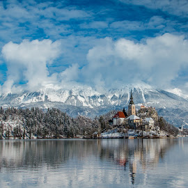 by Mario Horvat - City,  Street & Park  Vistas ( water, sneg, touristic, winter, slovenija, church, snow, slovenia, bled, lake, travel, jezero, island,  )