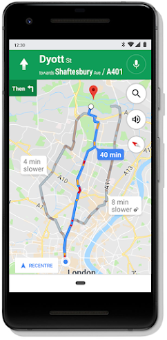 Google Maps screen on mobile