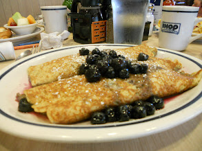 Photo: Whole Wheat Blueberry crepes with sweet cream cheese filling.