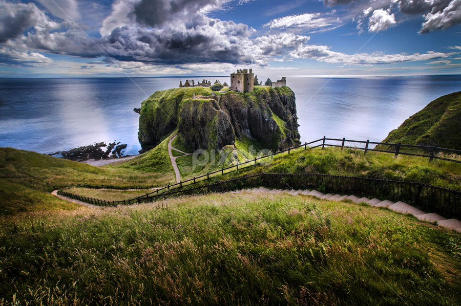 Dunnottar Castle by Alberto Ghizzi Panizza - Buildings & Architecture Public & Historical ( landmark, stairs, grass, path, dunnottar, castle, ruins, travel, rocks )