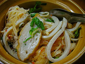 Photo: hot & sour dry rice noodles with seafood dumplings (gkuay dtiow senlek loogchin dtom yum haeng)