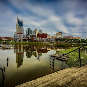 Stairway to Nowhere by Luke Popwell - City,  Street & Park  Skylines ( marble, skyline, old, metropolis, colorful, statues, sky line, cityscape, spring, 5d mark iii, parthenon, nashville, buildings, off axis production, luke popwell, down town, downtown, pwcskylines, water, 2013, greek, grass, tennessee, football stadium, city scape, flood, night, roman, daylight, river )
