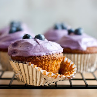 Lemon Almond Flour Cupcakes With Blueberry Whipped Cream Frosting.