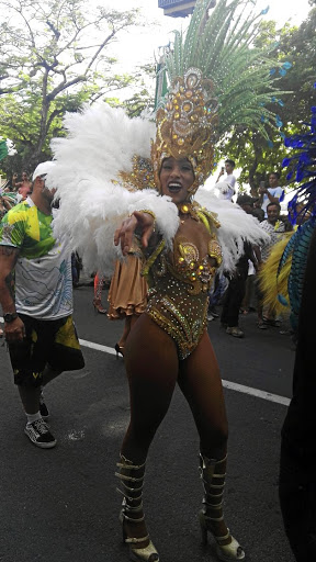 A woman in Brazilian carnival attire.