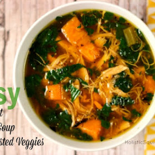 Easy Crockpot Chicken Soup with Roasted Veggies