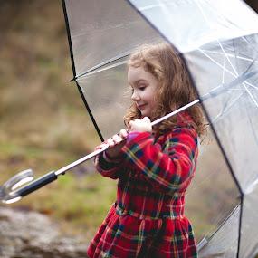 by Bethany McGregor - Babies & Children Children Candids ( mukilteo, snohomish county, rainy day, plaid coat, umberella, japanese gultch,  )
