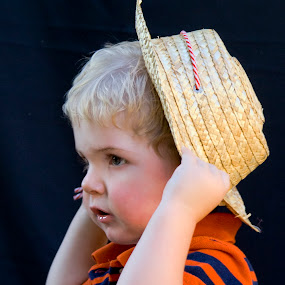 Toddler with hat by Pete Bobb - Babies & Children Toddlers ( blonde, low key, toddler, boy, hat,  )