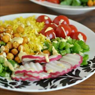 Roasted Chickpea Taco Salad Rice Bowls with Creamy Curry Dressing.