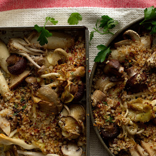 Roasted Mushrooms with Spicy Breadcrumbs recipe | Epicurious.com.