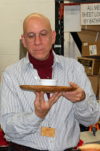 Photo: Mike Colella and his elm platter with ceramic insert.