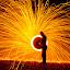 Raging Sparks by Brian  Shoemaker  - Digital Art Abstract ( sparks, spark, night, dark, fire )