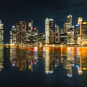 Cityscape View from MBS  by Nicholas  H - City,  Street & Park  Skylines ( night, lights,  )