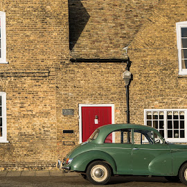 Car and Red by Sam Alexander - City,  Street & Park  Street Scenes ( car, ely, england, for book, 2015 )