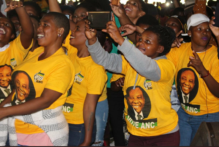 ANC supporters cheer at Badibanise stadium in Alfred Nzo region in the Eastern Cape during the manifesto launch on Saturday.