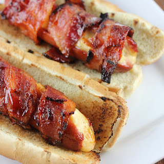 Bacon Wrapped Cheese Stuffed Hot Dogs.