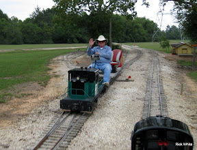 Photo: Bill Howe in Lakeside waiting on our passenger train.    HALS 2009-0919