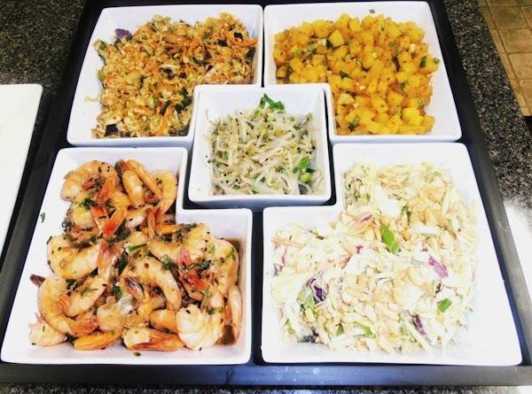 Asian Salads & Shrimp: peanut coleslaw, kimchee, bean sprouts, turnip kimchee, asian stir-fry shrimp