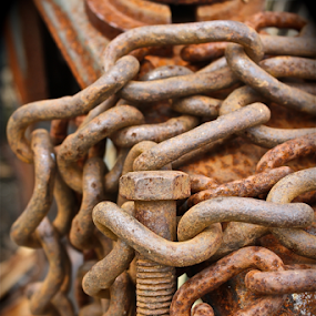 Heart Chains by Susannah Lord - Artistic Objects Antiques ( scale, orange, bolt, weight, chains, rusty, gray, nuts and bolts, weights, chain, rusted, rust, antique,  )