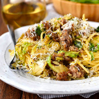 Sausage, Brussels Sprouts and Parmesan Pasta.