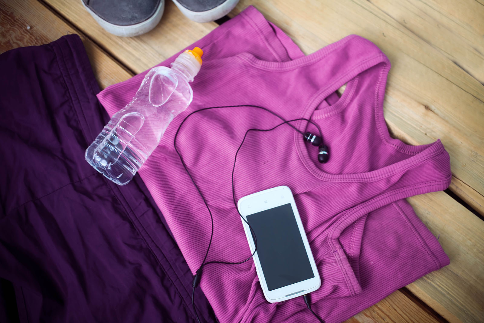 Exercise clothes, phone and headphones