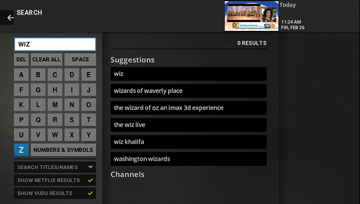 Perform a search on legacy Google Fiber TV