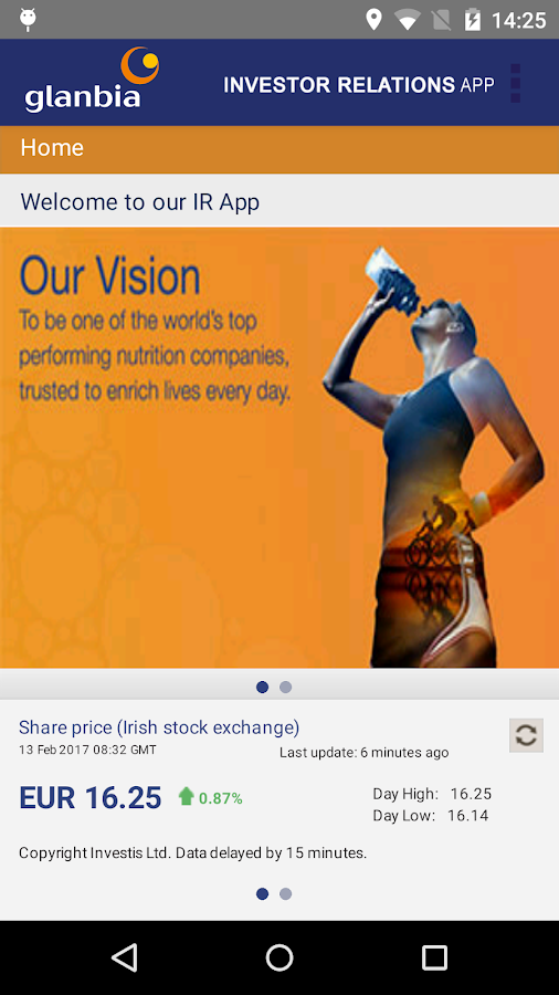 Glanbia Investor Relations- screenshot