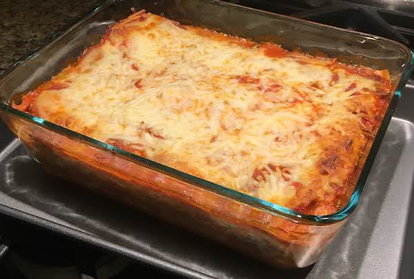 Just Baked Pan Of Lasagne, Ready To Cut.