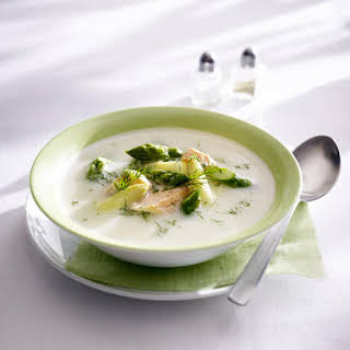 Cream of Asparagus Soup with Poached Salmon.