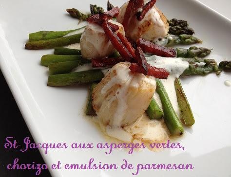Saint Jacques aux Asperges Vertes, Chorizo et Émulsion au Parmesan