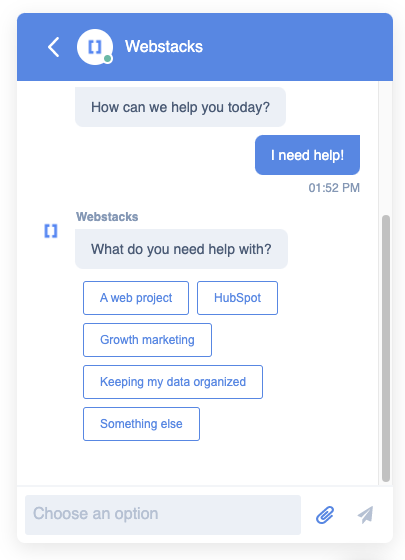 """Conversational chatbot that is asking, """"what do you need help with?"""""""