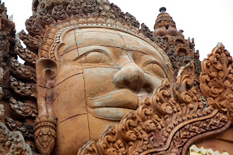 Photo: Year 2 Day 39 - Beautifully Carved Buddha on Wat in Moung Ruessie (Cambodia)