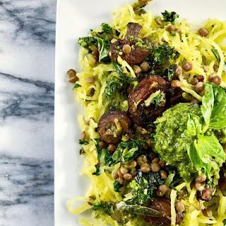 Pesto Spaghetti Squash with Lentils, Kale, & Mushrooms.