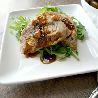 Peach and Prosciutto Pork Roulade with Spicy Apricot Glaze.