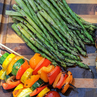 Simple Summer Vegetable Kebabs and Grilled Asparagus