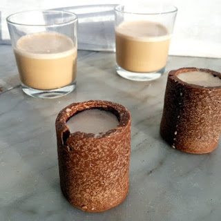 Coconut Milk Baileys with Coconut Chocolate Shot Glasses.