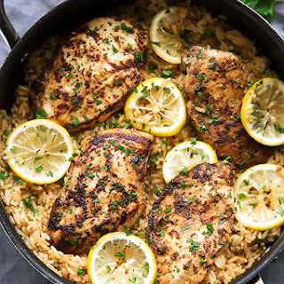 One Pot Greek Chicken and Rice Pilaf.