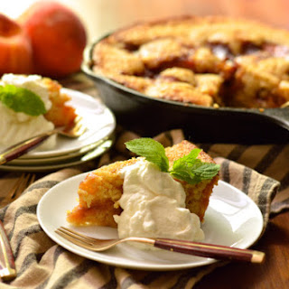 Caramelized Peach Cornmeal Skillet Cake