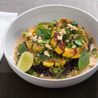 Delicata Squash Red Curry with Black Rice & Thai Basil.