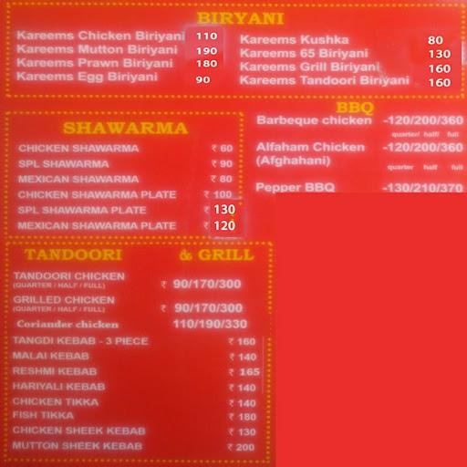 Kareem's Biriyani Paradise menu 1