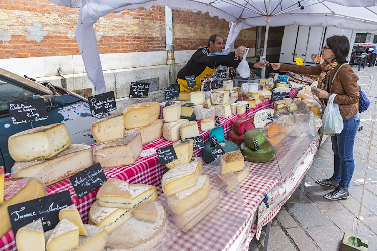 French cheese sales stand at the Sunday Market in Grenoble city, France. Picture: ISTOCK