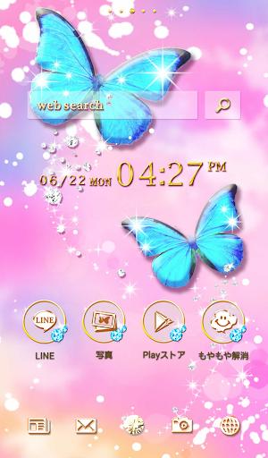 おしゃれなきせかえ壁紙★幻想的なキラキラ青い蝶