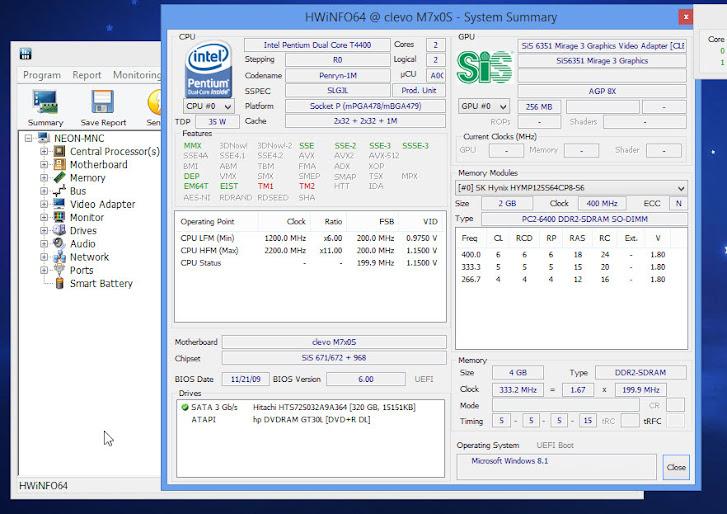 HWinfo System information summary