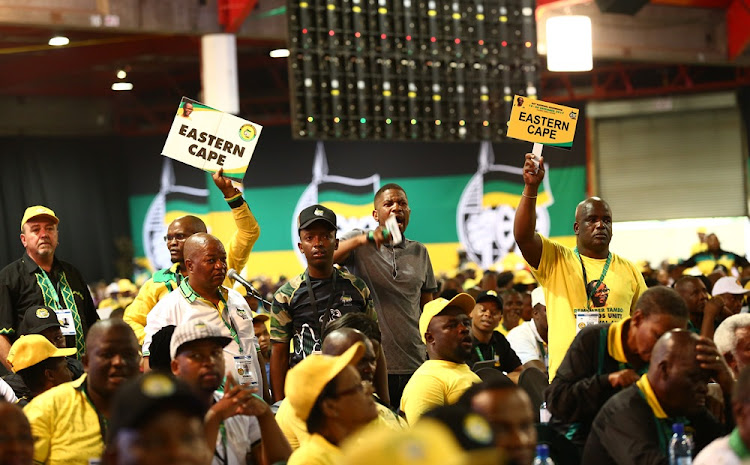 Members of the Eastern Cape delegation raise an objection during the 54th ANC National Elective Conference held at Nasrec. Picture: MASI LOSI
