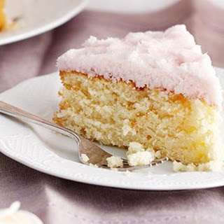 Moist Coconut Cake With Coconut Ice Frosting.