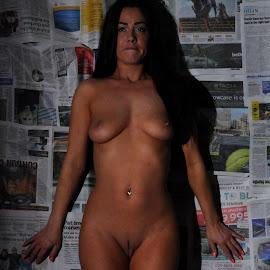 Paperpinned by DJ Cockburn - Nudes & Boudoir Artistic Nude ( newspaper, full frontal, woman, art nude, home shoot, off camera flash, standing, dark hair, paper, full length, brunette, jess harrington, model )